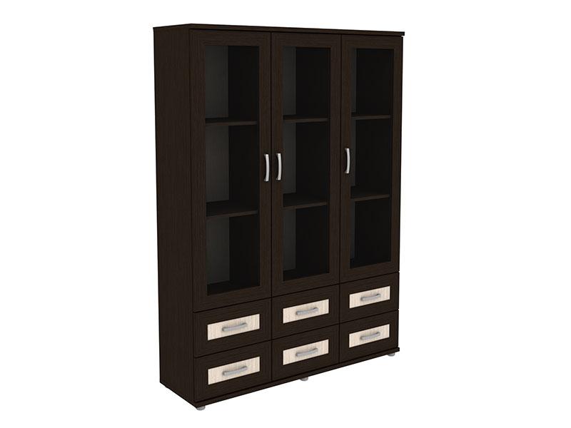 Книжный шкаф со стеклянными дверцами низкий 3 дверный с 6-ю .